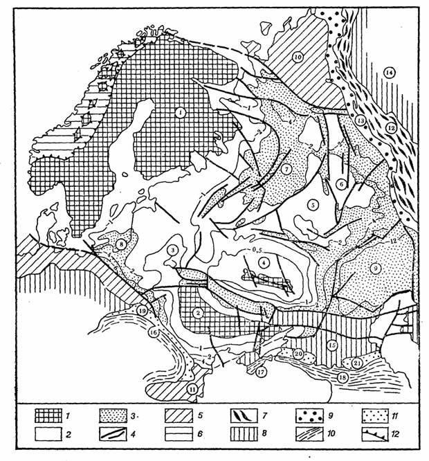 Схема рельефа фундамента